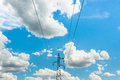 Electric power on blue sky at thailand Stock Photo