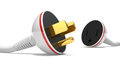 Electric power cable, plug and socket unplugged Stock Images