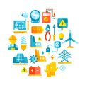 Electric power, electrical lines, electricity vector concept with flat icons