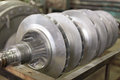 Electric power equipment rotor generator one of the key parts of the generating unit closeup Stock Image