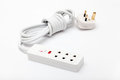 Electric power extension cord with pin sockets on white background Stock Image