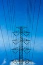 Electric power high voltage transmission line pylon tower Royalty Free Stock Photo