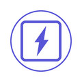 Electric power, lightning bolt circular line icon. Round sign. Flat style vector symbol. Royalty Free Stock Photo