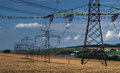 Electric power line in landscape fields during bright day Royalty Free Stock Photo