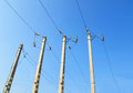 Electric power line pole Royalty Free Stock Photos