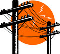 Electric Power line post Stock Photography