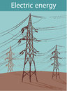 Electric power lines on a blue sky background tower on a background of the blue sky Royalty Free Stock Photo