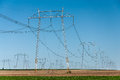 Electric power lines landscape and Royalty Free Stock Photography