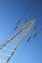 Electric power lines with tower Royalty Free Stock Photography