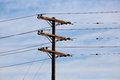 Electric Power Lines and Transformers Telephone Poles Royalty Free Stock Photo