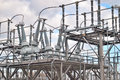 Electric power substation. Royalty Free Stock Photo