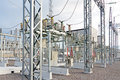 Electric power substation high voltage in autumn day Stock Photography
