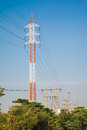 Electric power tower and transmission lines Royalty Free Stock Photo
