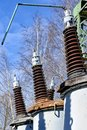 Electric power transformer substation Royalty Free Stock Photo