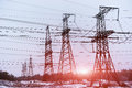 Electric power transmission or power grid pylon wires. Royalty Free Stock Photo