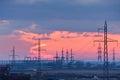 Electric powerlines Stock Photos