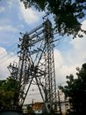 Electric pylon with blue sky background Royalty Free Stock Photo