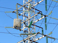Electric pylon in the center of Moscow Stock Image