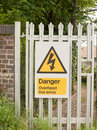 An electric safety sign outside on metal gate with electric bolt Royalty Free Stock Photo