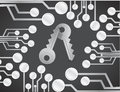 Electric security key circuit board illustration Royalty Free Stock Photo