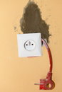 Electric socket in construction site outlet cord and plug Royalty Free Stock Images