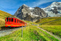 Electric tourist train and Eiger North face, Bernese Oberland, Switzerland Royalty Free Stock Photo