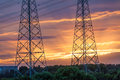 Electric tower at sunset Royalty Free Stock Photo