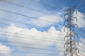 Electric tower ultra wide angle over blue sky Royalty Free Stock Photo