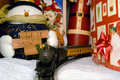 Electric Train and Christmas Decoration Royalty Free Stock Images