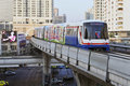 Electric Train on Elevated Rails in Bangkok Stock Image