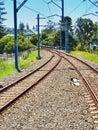 Electric Train Tracks, NSW Country Town, Australia Royalty Free Stock Photo