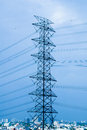 Electric transmission tower high voltage post Royalty Free Stock Images