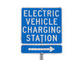 Electric vehicle charging station sign isolated with clipping path Stock Photography
