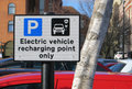 Electric vehicle recharging point sign closeup of Stock Photography