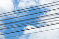 Electric wire cable on blue sky Royalty Free Stock Photo