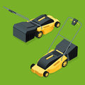 Electric yellow lawn mower in summertime. Lawn grass service concept. Isometric flat vector illustration. Garden