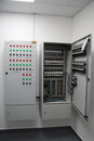 Electrical an cabinet and circuit breakers Royalty Free Stock Photos
