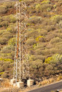 Electrical capacity mast and nature background Stock Photography