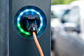 Electric car charging, battery charger socket Royalty Free Stock Photo