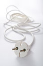 Electrical cord white extension closeup Stock Images