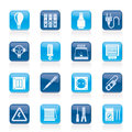 Electrical devices equipment icons vector icon set Royalty Free Stock Photos