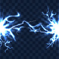 Electrical discharge with lightning beam isolated on checkered transparent background vector illustration