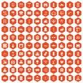 100 electrical engineering icons hexagon orange