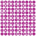 100 electrical engineering icons hexagon violet