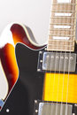 Electrical guitar bright sunburst close up Royalty Free Stock Photo