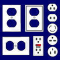 Electrical outlet plugs and faceplates in vector Stock Image