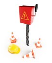 Electrical panel road cone hardhat on a white background Stock Images