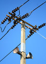Electrical post with power line cables against blue sky Royalty Free Stock Images