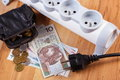 Electrical power strip with disconnected plug and polish currency money energy costs black leather pocket purse concept of saving Stock Photo