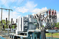 Electrical power transformer in substation high voltage Royalty Free Stock Photography